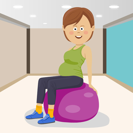Fitness young smiling woman sitting on pink fitness ball in a gym