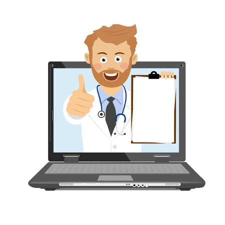 Male doctor with stethoscope and clipboard having consultation online on laptop Foto de archivo