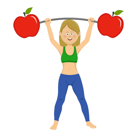 Happy young woman exercising dumbbell bar with apples isolated on white