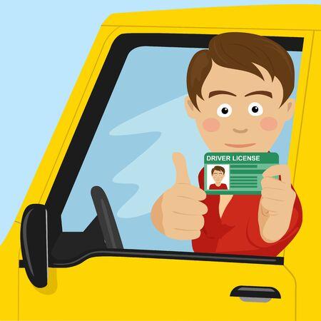 Junger glücklicher Junge, der seinen neuen Führerschein zeigt, der in seinem Auto sitzt