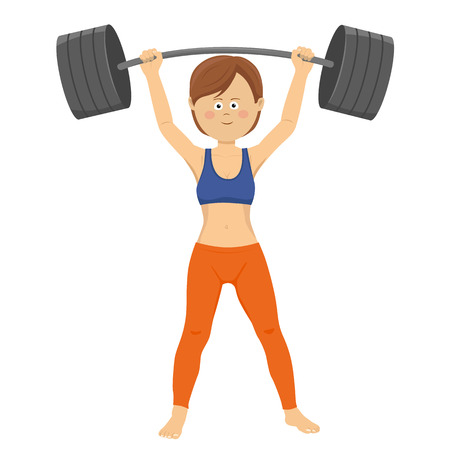 Young happy woman lifting heavy barbell isolated on a white background