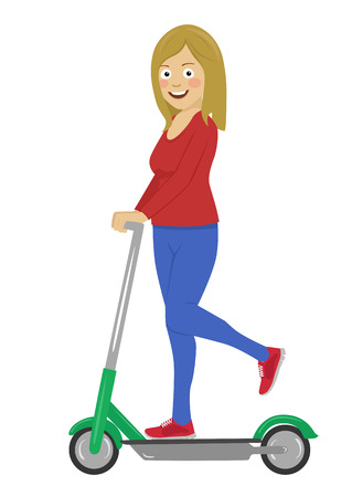 Young happy woman riding her electric scooter isolated on a white background