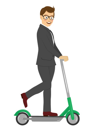 Young happy businessman riding his electric scooter isolated on a white background