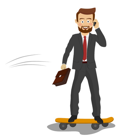 Young handsome businessman with briefcase talking on the phone riding his skateboard on white