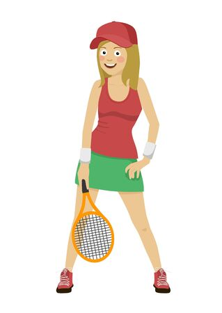 Happy female tennis player posing with a racket isolated over white background Foto de archivo
