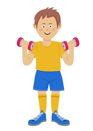 Cute guy raises heavy dumbbells. Sports and health concept