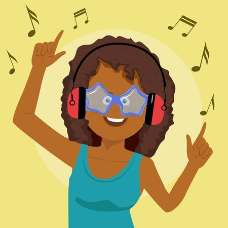 Adorable african american woman singing and having fun listening to music using wireless earphones Foto de archivo
