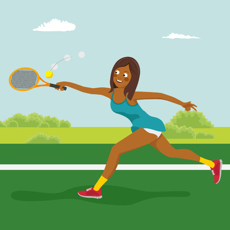 Young beautiful african american tennis girl on the tennis court. Dynamic movement Vectores