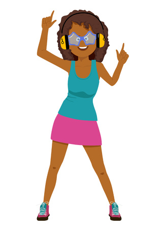 Young african american girl with headphones listening to the music isolated over a white background