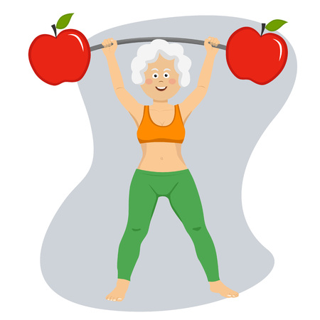 Happy elderly woman exercising dumbbell bar with apples isolated on white Vectores