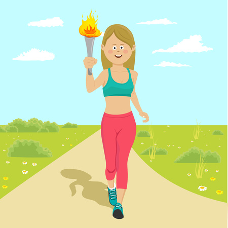 Young happy female blonde athlete holding a fire torch running outdoor