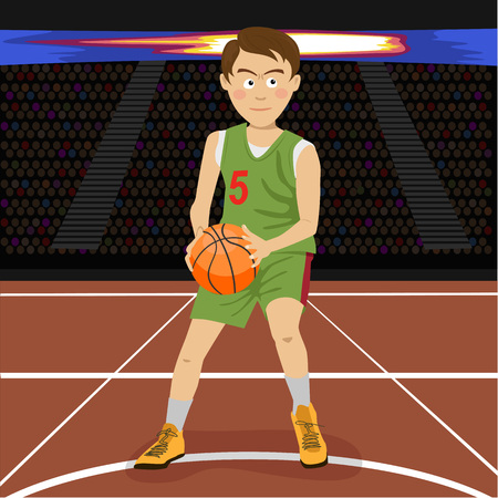 Young basketball player on big professional arena during the game. Tense moment of the game. Vector illustration Vectores