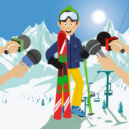 Male happy skier interviewed at a press conference after competition