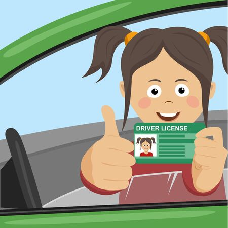 Young happy girl showing her new driver license