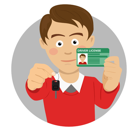 Young happy caucasian man showing his car keys and driving license