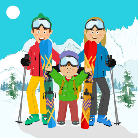 Happy family on ski holiday in the mountains. Family ski vacation