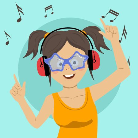 Young happy teenage girl singing and having fun listening to the music using wireless earphones Foto de archivo
