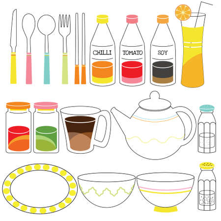 plat: Kitchen Cutlery Doodle cute and cartoon style