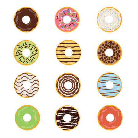 doughnut: Delicious donut sugar with different topping