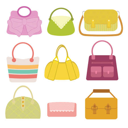 pocketbook: Woman Bag Collection in flat design with color variation