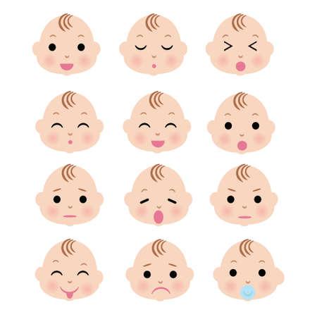 fille pleure: Visage de garçon mignon de bébé avec l'expression de variation Illustration