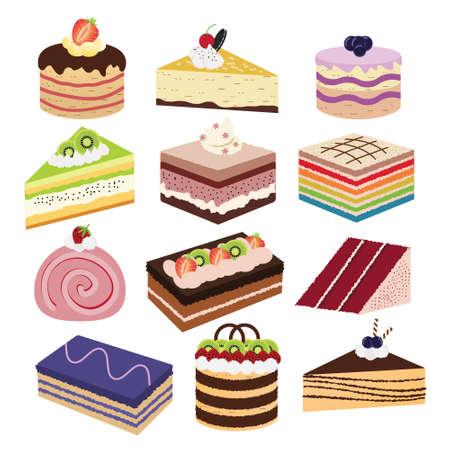 porcion de pastel: Pedazo de torta deliciosa con crema y la variación
