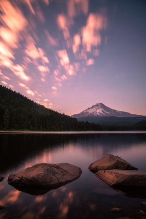 Sunset in motion over Trillium Lake, Oregon