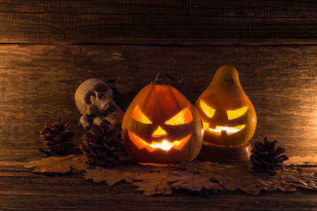Halloween lantern head pumpkins scary spooky and creepy faces in the dark night