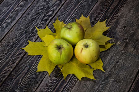 Green apples bely naliv on autumn leaves. Ravelston pippin. Wooden background. Top view.
