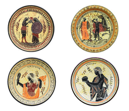 tethys: Set of four ancient Greek dishes isolated on white background. On a plate image of Athena, Aphrodite, Achilles and Tethys. Mythical heroes and gods.