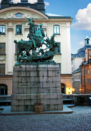 Stockholm, Sweden - January 05th 2015: St. George and the Dragon. Monument to St. George  in Stockholm. Old Town (Gamla Stan).