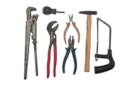 A set of tools for plumbing. Adjustable wrenches, hammer, pliers, hacksaw and side cutters. Stock Photo