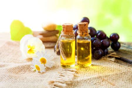 Essential oil of grape seeds  - healing aromatic oil Foto de archivo