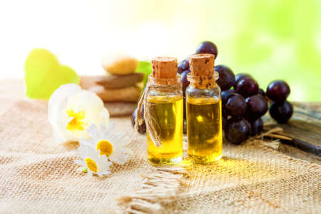 Essential oil of grape seeds  - healing aromatic oil Stock Photo