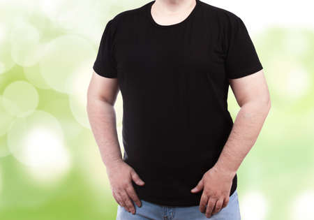 Mens T-shirt on the model - black mens T-shirt mockup large size XXL