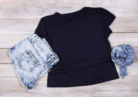 Black T-Shirt Mockup - Short Sleeve T-Shirt Flat Lay Fashion Design