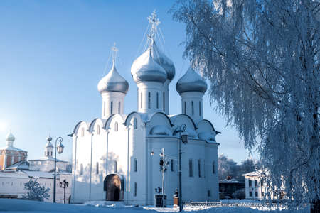 Beautiful view of the temple - an Orthodox church in the winter - a church with domes and crosses Stock Photo