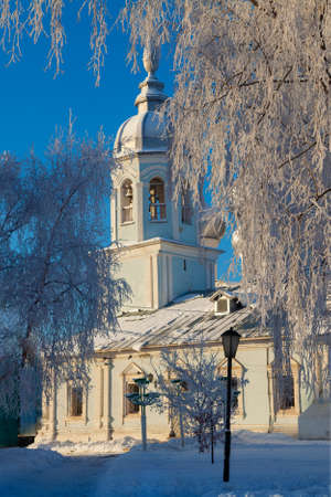 Orthodox Church on a sunny frosty day - the White Church in Vologda, Russia 写真素材