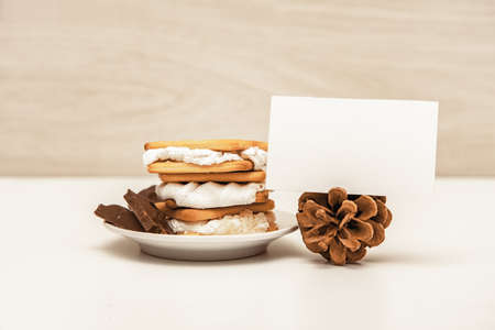 Smore - sweet dessert - cookies, chocolate and marshmallows - traditional dessert - card mock up