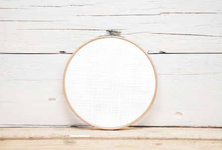 Hoops for embroidery on a wooden