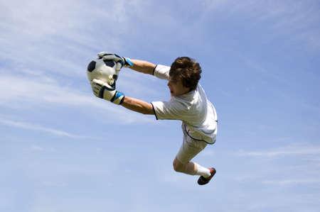 portero: El balompi� Goalie del f�tbol que hace el salto ahorra