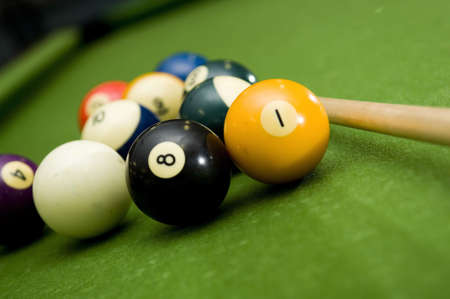 Shooting a game of poor or billiards