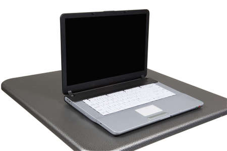 techie: computer on gray table includes path for table and computer together, screen is blank add your own graphic