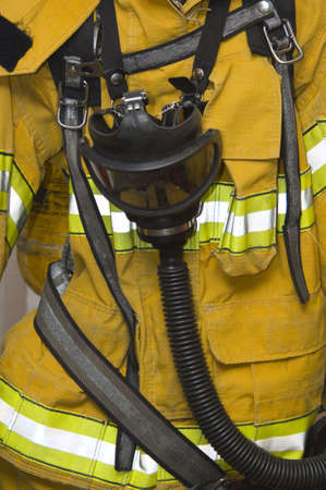 protective fire suit with gas mask  - yellow
