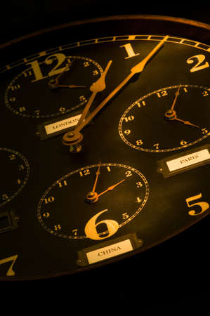 vintage clock with multiple faces depicting time in different parts of the world light painted with flashlight.