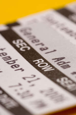 entry admission: Closeup of ticket with very shallow depth of field Stock Photo