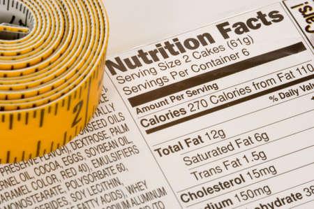 Cinta métrica de color amarillo junto a la información sobre nutrición en los envases en los EE.UU.