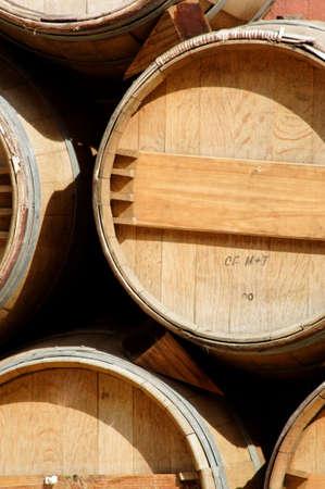 Wooden wine barrels on display