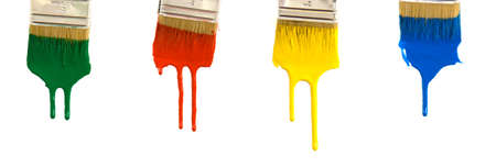 Dripping multicolor paint against a bright white background Stock Photo - 1290882