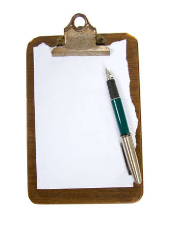 Old clip board with paper and a pen against white background blank add copy